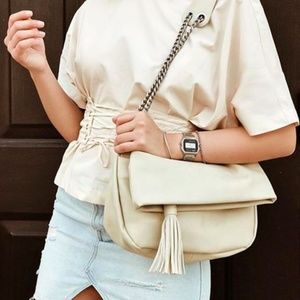 veggani cream vegan leather maya tassel bag